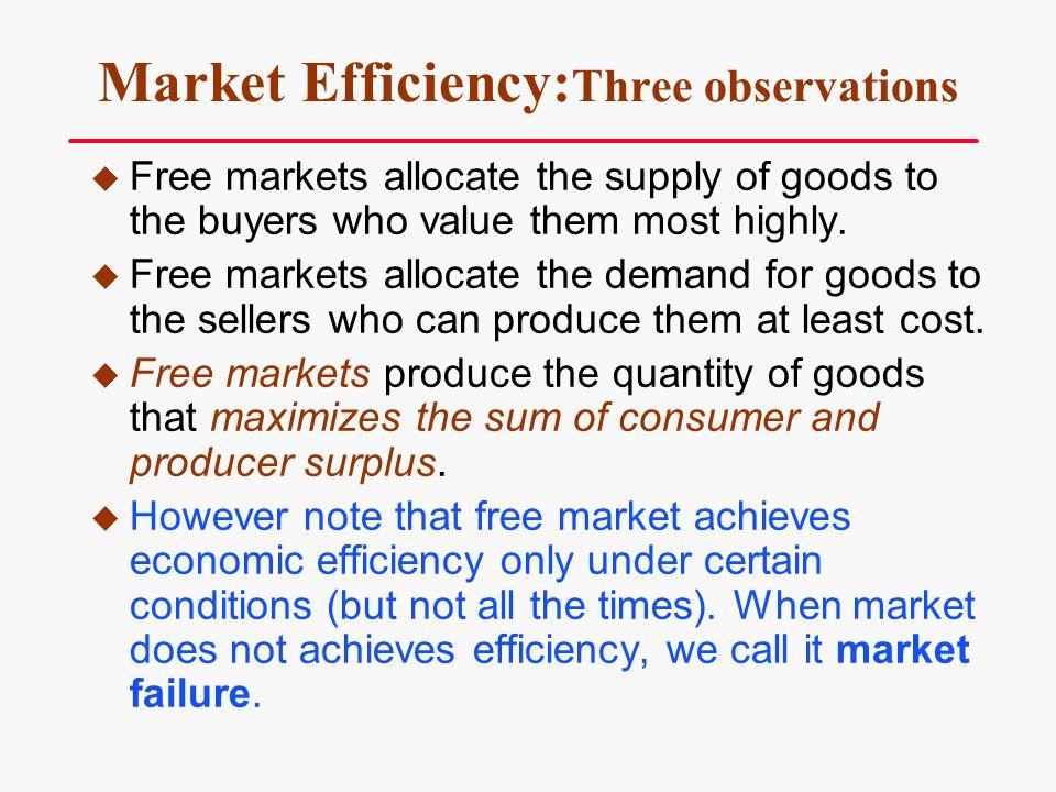 Market Efficiency:Three observations