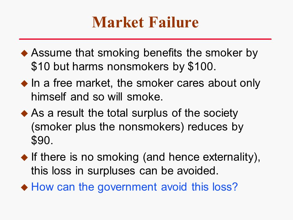 Market Failure Assume that smoking benefits the smoker by $10 but harms nonsmokers by $100.