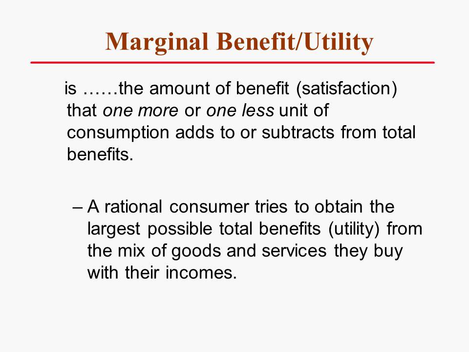 Marginal Benefit/Utility