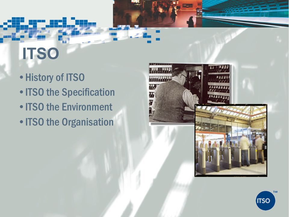 ITSO History of ITSO ITSO the Specification ITSO the Environment