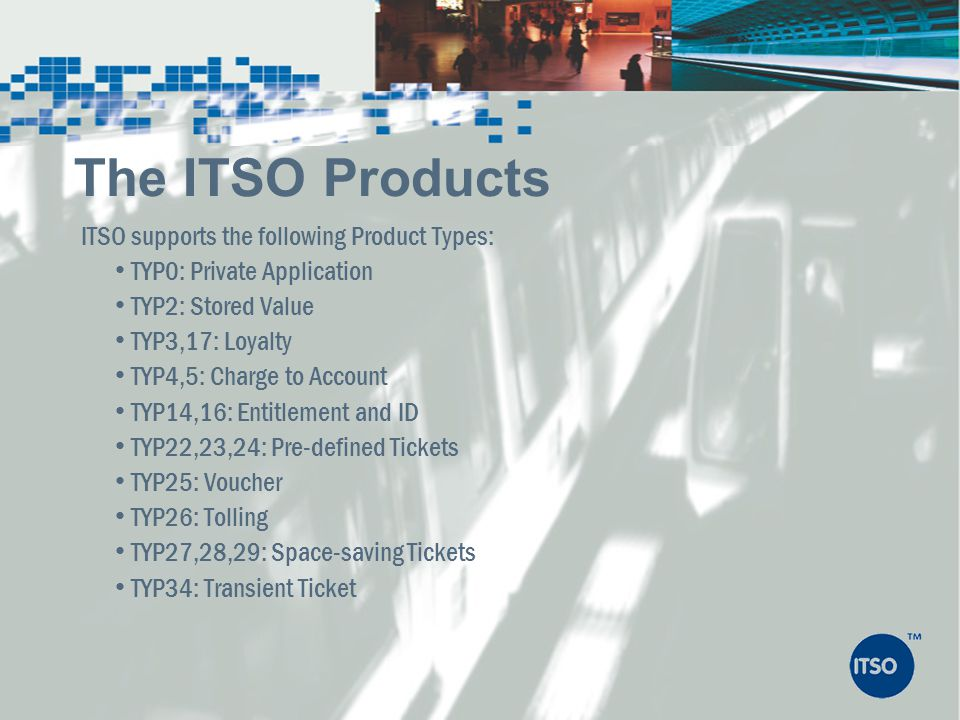 The ITSO Products ITSO supports the following Product Types: