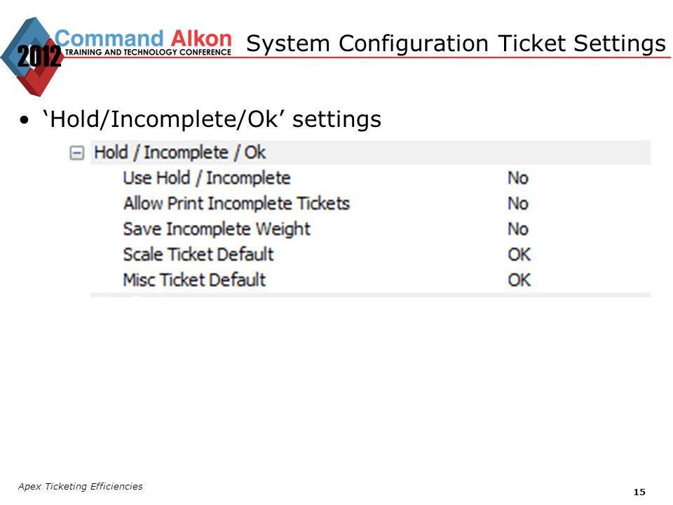 System Configuration Ticket Settings