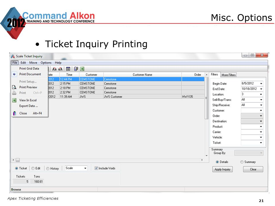 Ticket Inquiry Printing