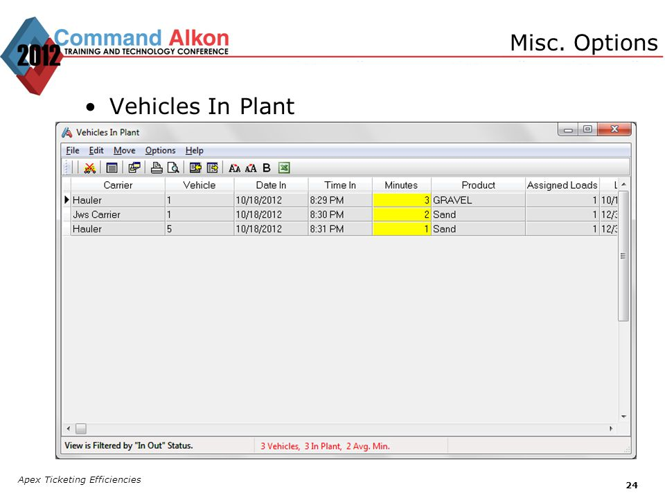 Misc. Options Vehicles In Plant Apex Ticketing Efficiencies