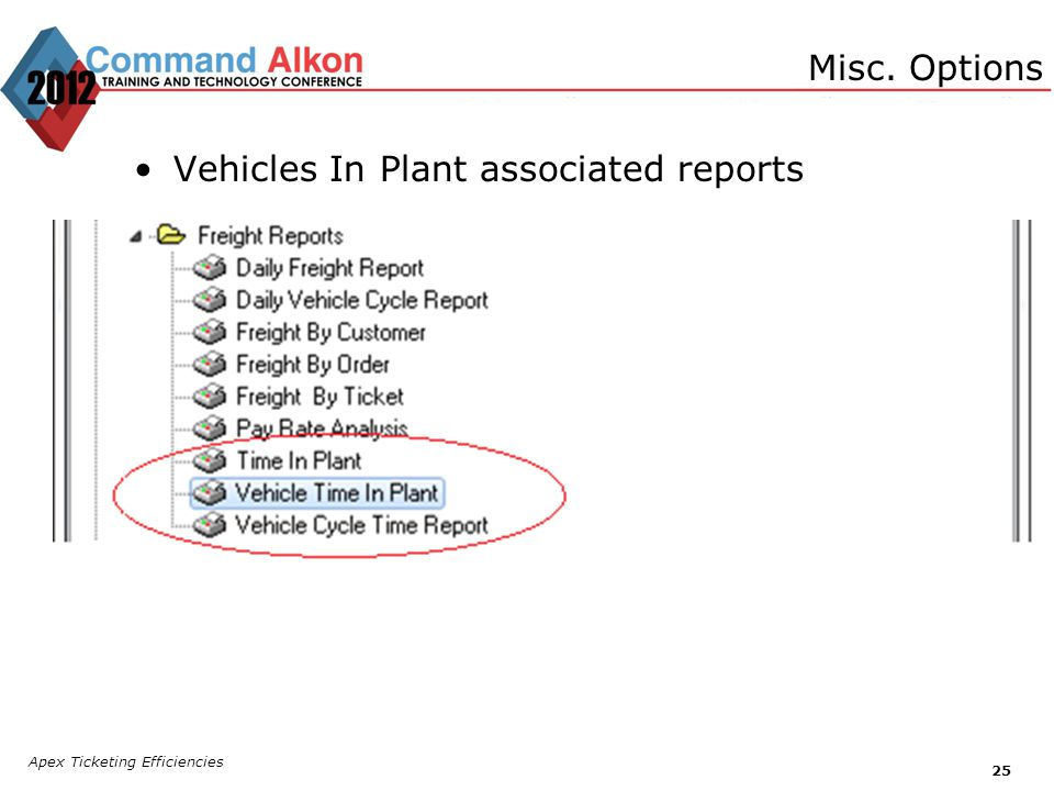 Vehicles In Plant associated reports