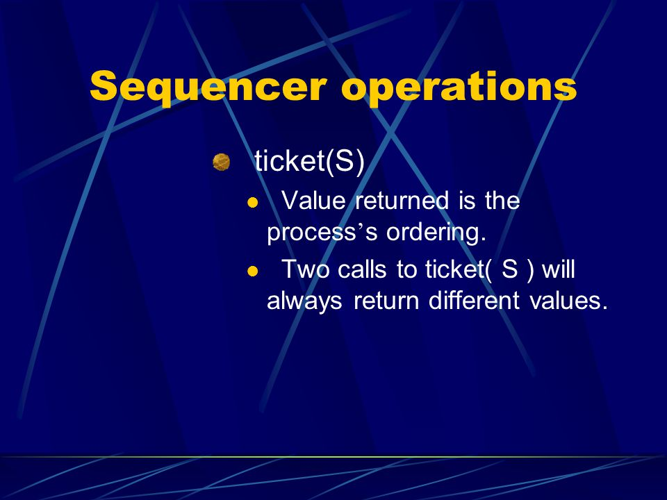 Sequencer operations ticket(S)