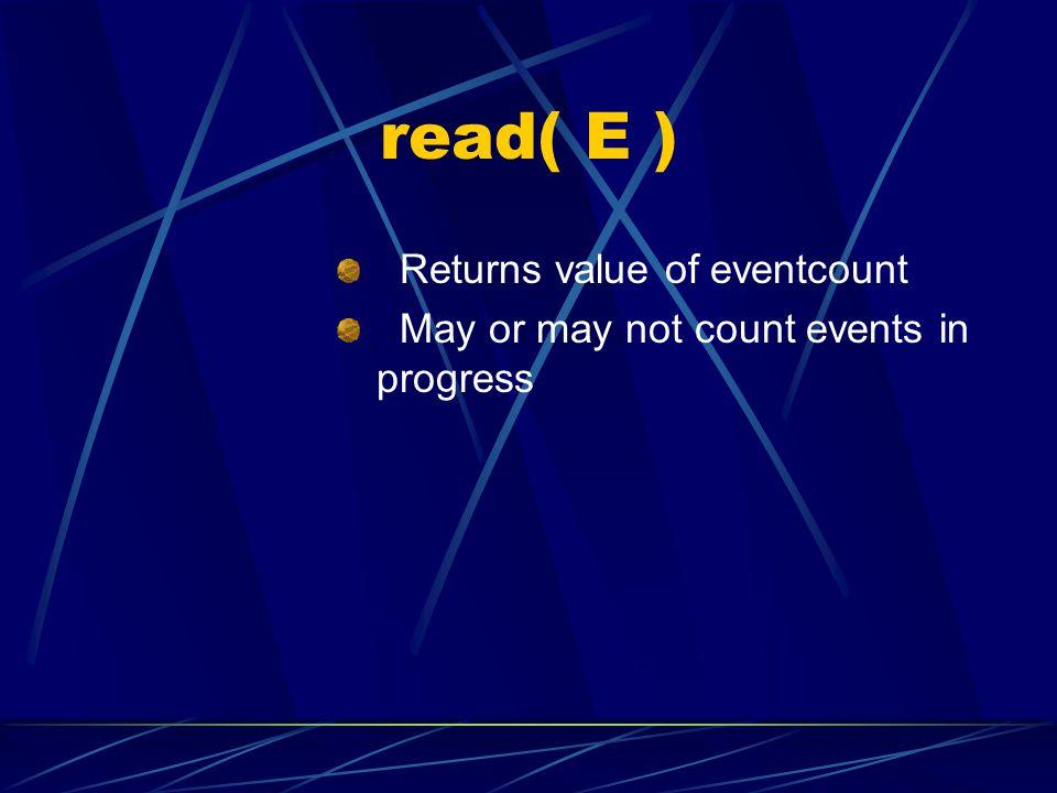 read( E ) Returns value of eventcount