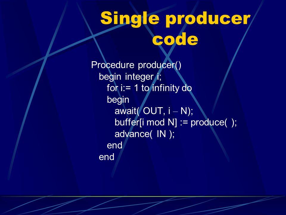 Single producer code Procedure producer() begin integer i;