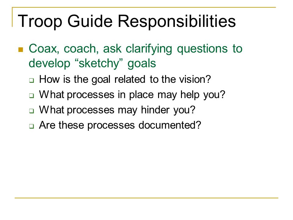 Troop Guide Responsibilities