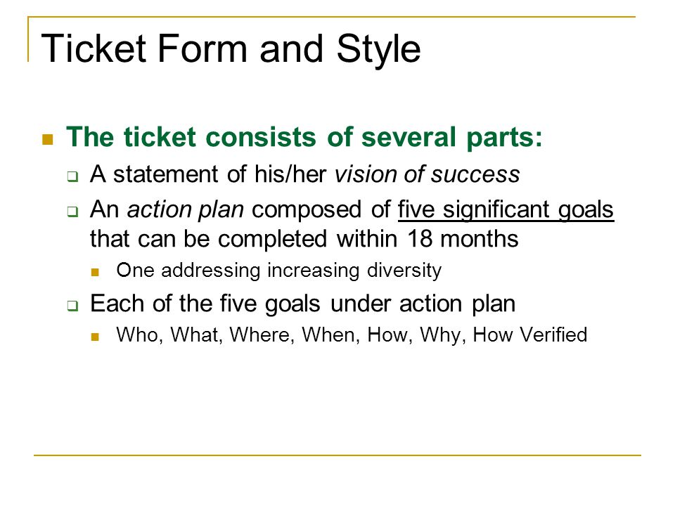 Ticket Form and Style The ticket consists of several parts: