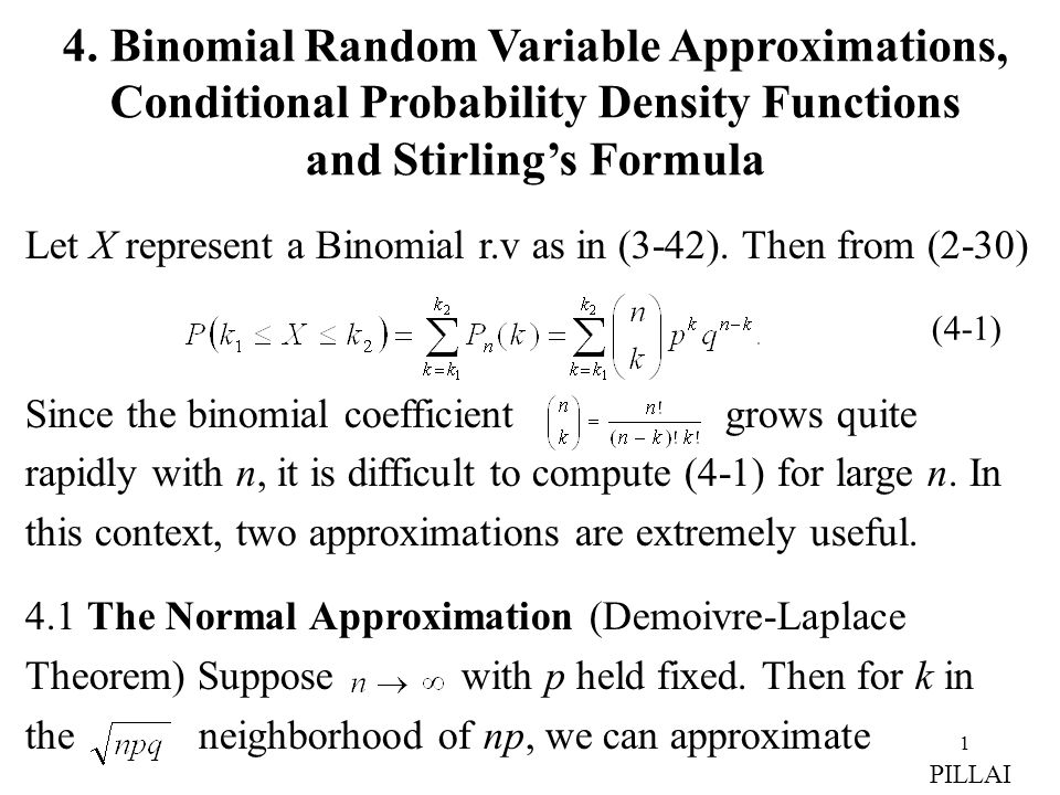 4. Binomial Random Variable Approximations,