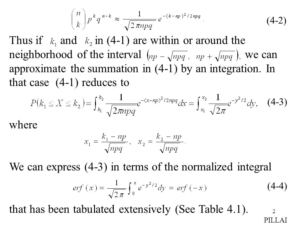 We can express (4-3) in terms of the normalized integral