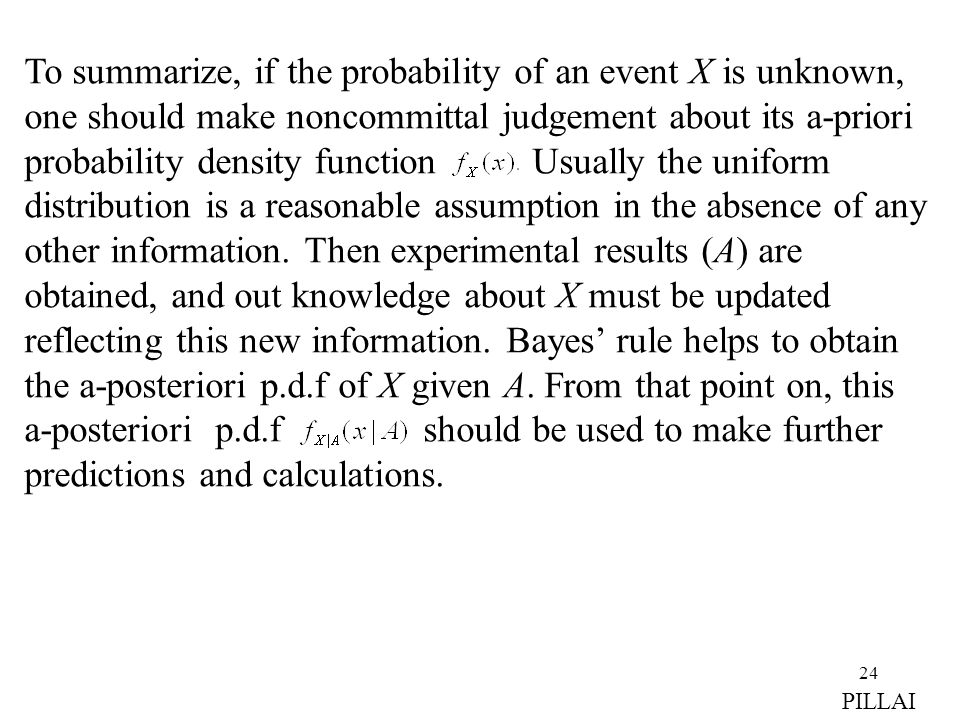 To summarize, if the probability of an event X is unknown, one should make noncommittal judgement about its a-priori probability density function Usually the uniform distribution is a reasonable assumption in the absence of any other information. Then experimental results (A) are obtained, and out knowledge about X must be updated reflecting this new information. Bayes' rule helps to obtain the a-posteriori p.d.f of X given A. From that point on, this a-posteriori p.d.f should be used to make further predictions and calculations.