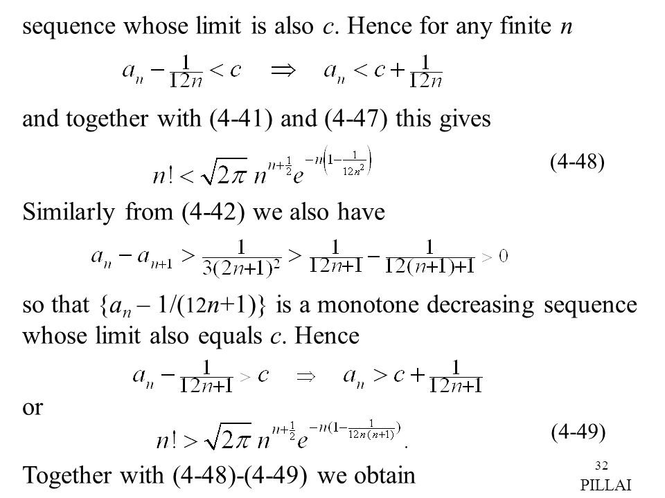 sequence whose limit is also c. Hence for any finite n