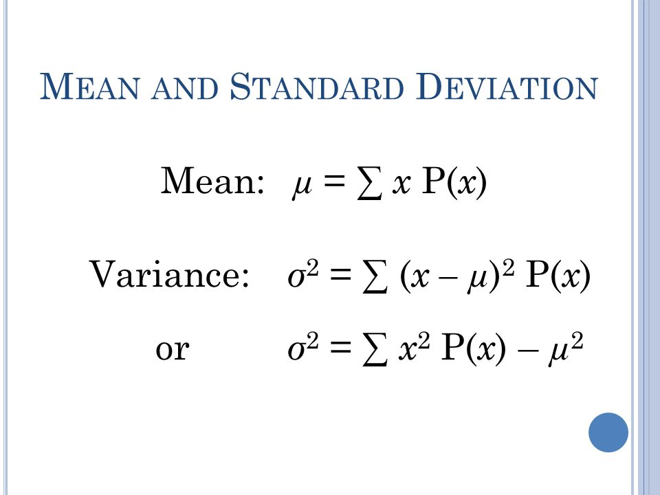 Mean and Standard Deviation