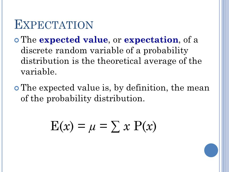 Expectation E(x) = µ = ∑ x P(x)