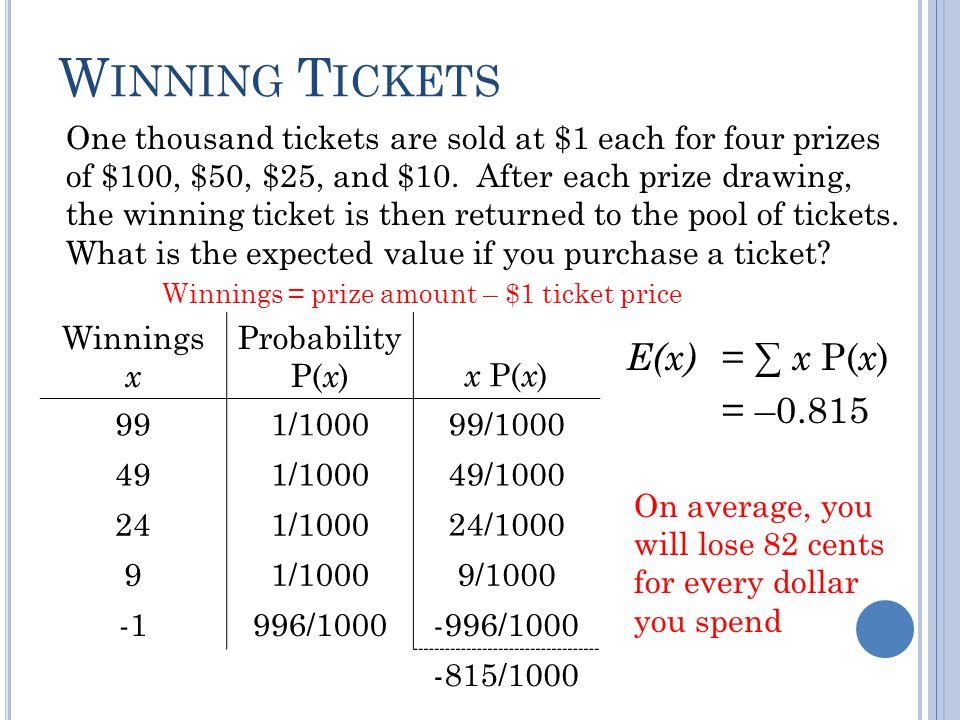 Winning Tickets E(x) = ∑ x P(x) = –0.815