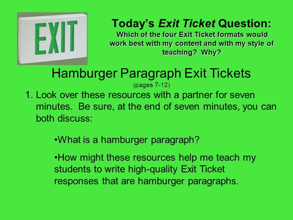 Hamburger Paragraph Exit Tickets