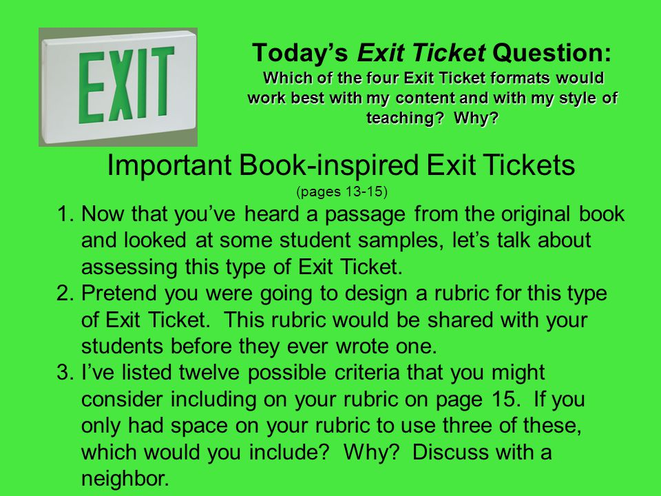 Important Book-inspired Exit Tickets