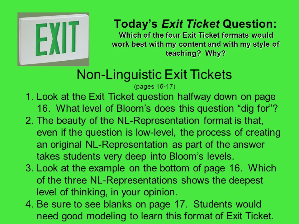 Non-Linguistic Exit Tickets