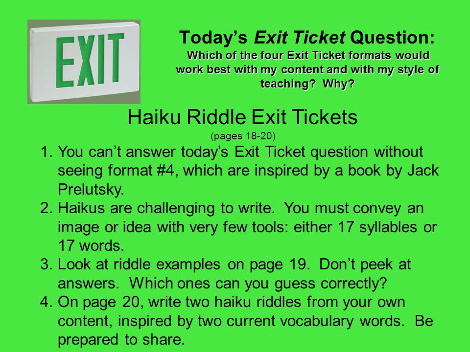 Haiku Riddle Exit Tickets