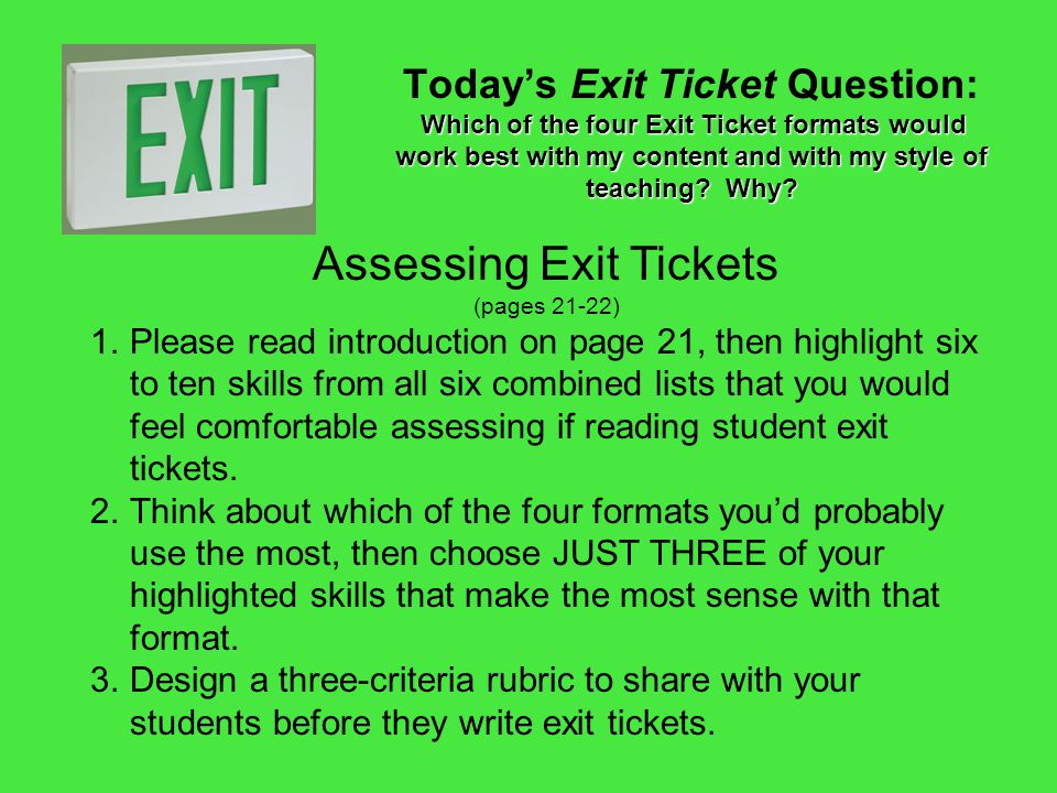 Assessing Exit Tickets