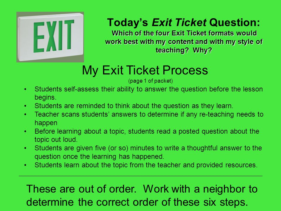 My Exit Ticket Process (page 1 of packet)
