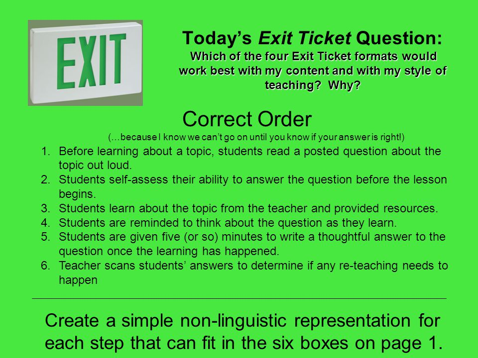 Today's Exit Ticket Question: Which of the four Exit Ticket formats would work best with my content and with my style of teaching Why