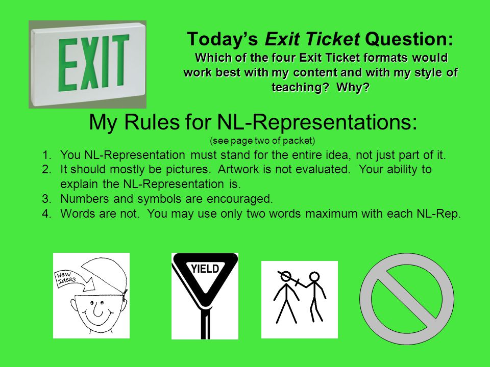 My Rules for NL-Representations: (see page two of packet)