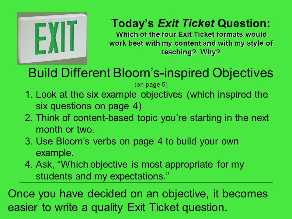 Build Different Bloom's-inspired Objectives