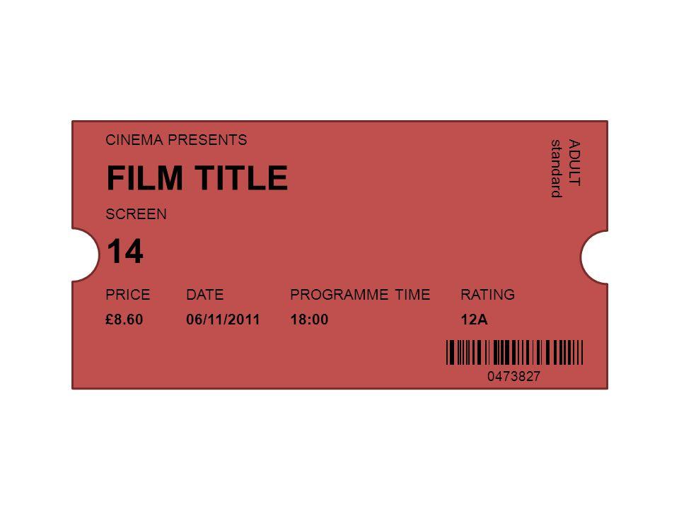 FILM TITLE 14 CINEMA PRESENTS ADULT standard SCREEN PRICE DATE
