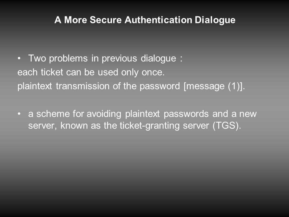 A More Secure Authentication Dialogue