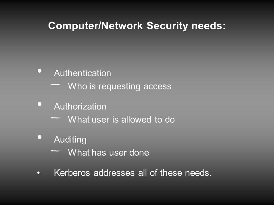 Computer/Network Security needs: