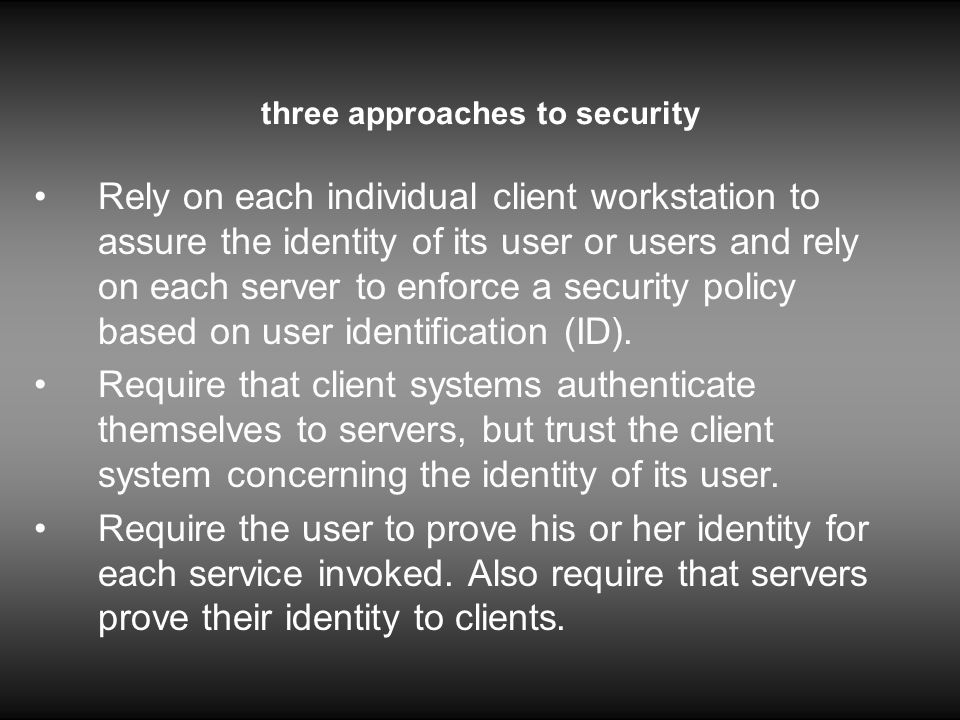 three approaches to security