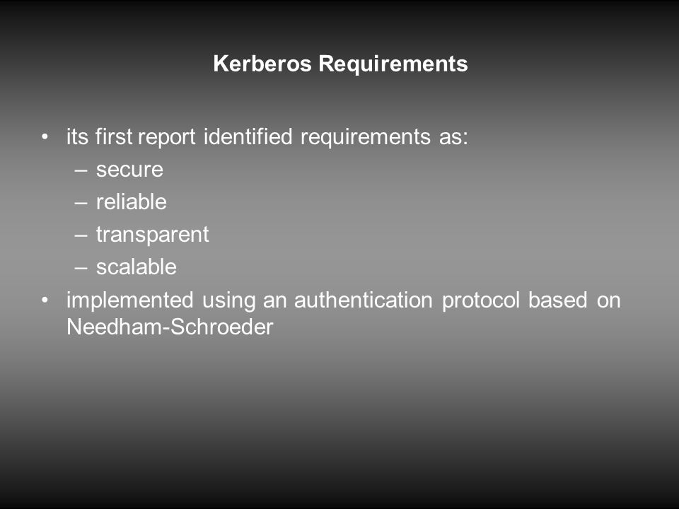 Kerberos Requirements