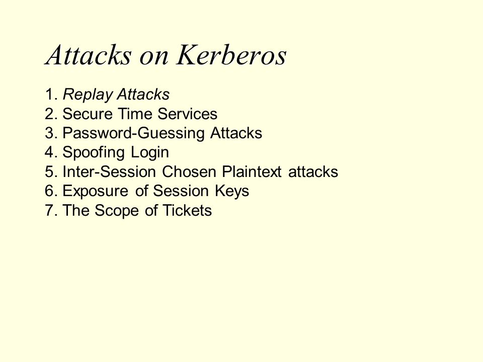 Attacks on Kerberos 1. Replay Attacks 2. Secure Time Services