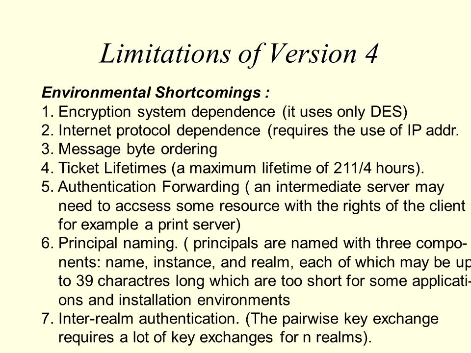 Limitations of Version 4