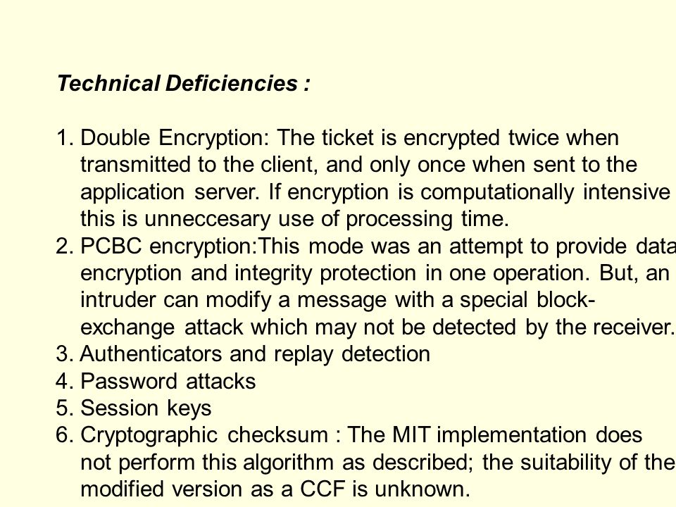 Technical Deficiencies :