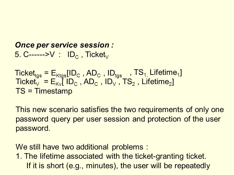 Once per service session :