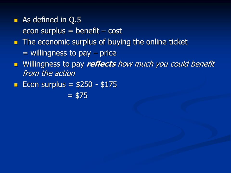 As defined in Q.5 econ surplus = benefit – cost. The economic surplus of buying the online ticket.