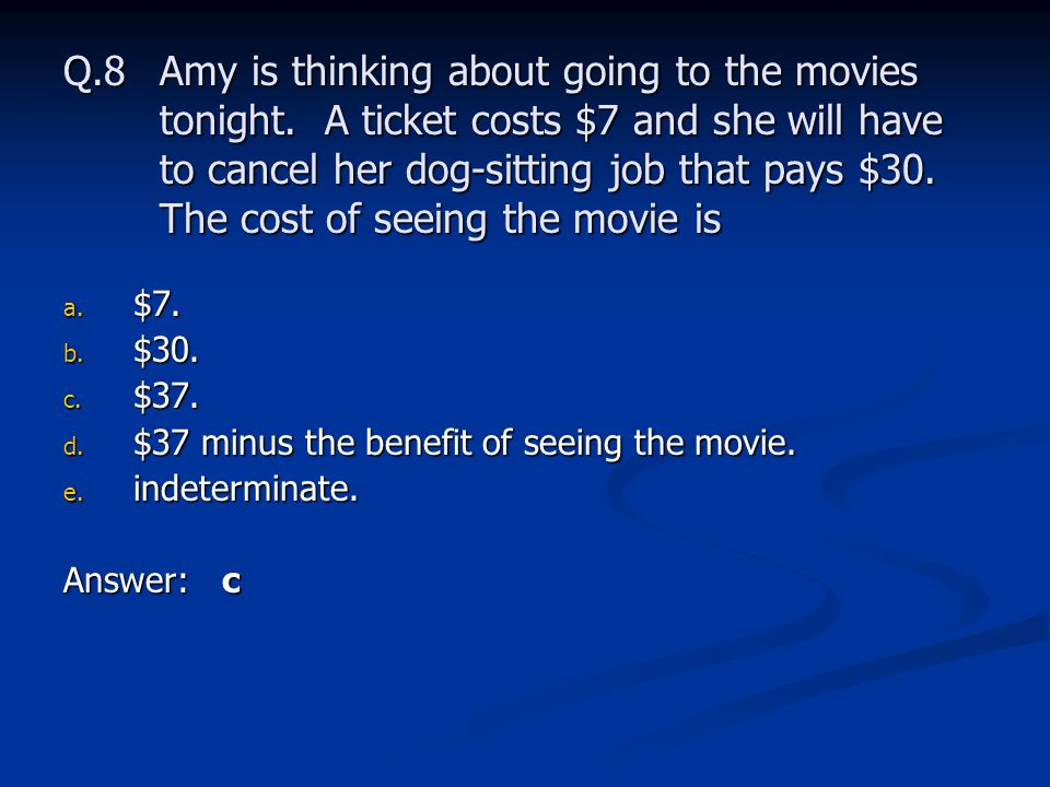 Q. 8. Amy is thinking about going to the movies tonight