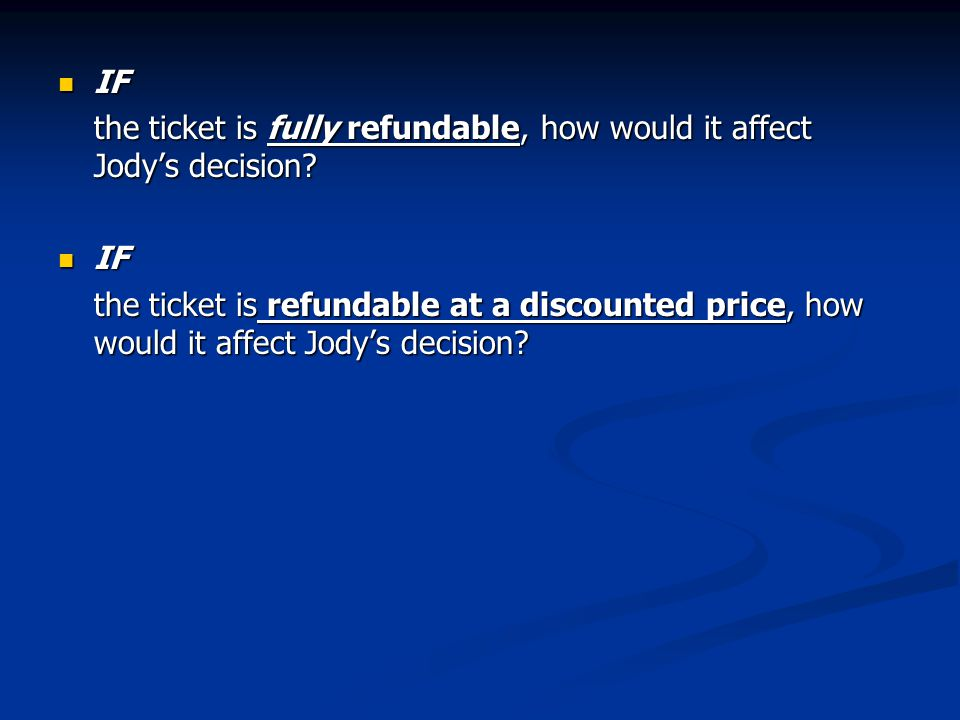 IF the ticket is fully refundable, how would it affect Jody's decision