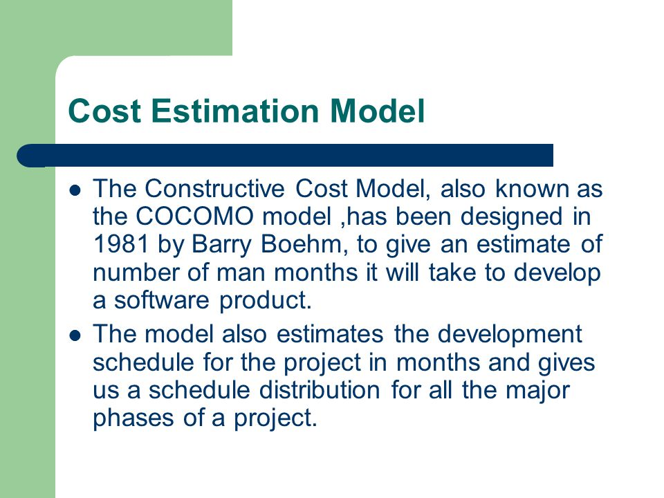 Cost Estimation Model