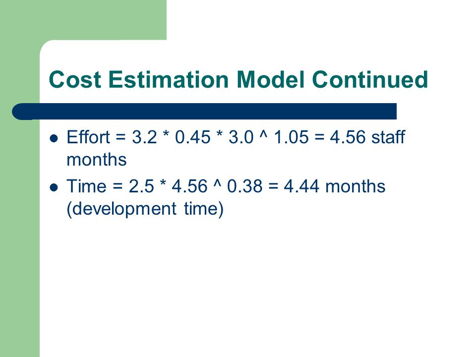 Cost Estimation Model Continued