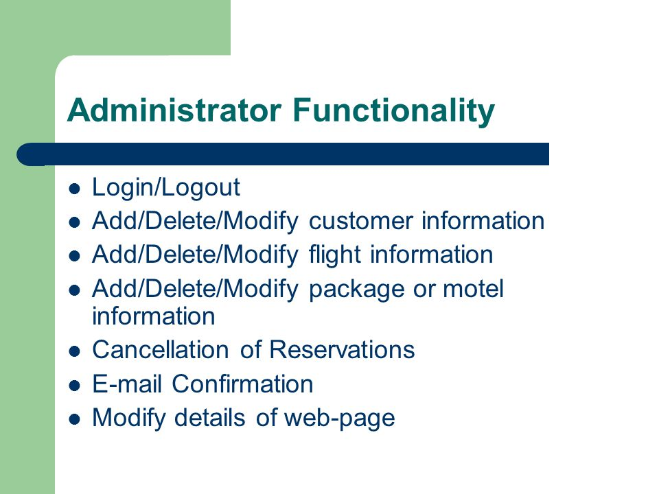 Administrator Functionality