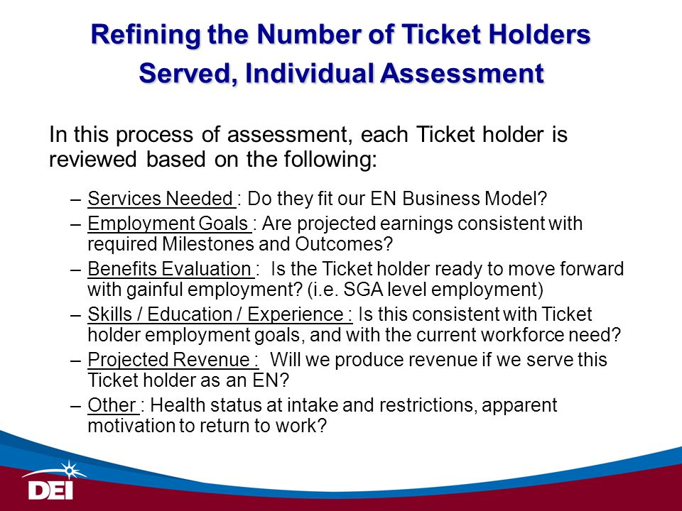 Refining the Number of Ticket Holders Served, Individual Assessment