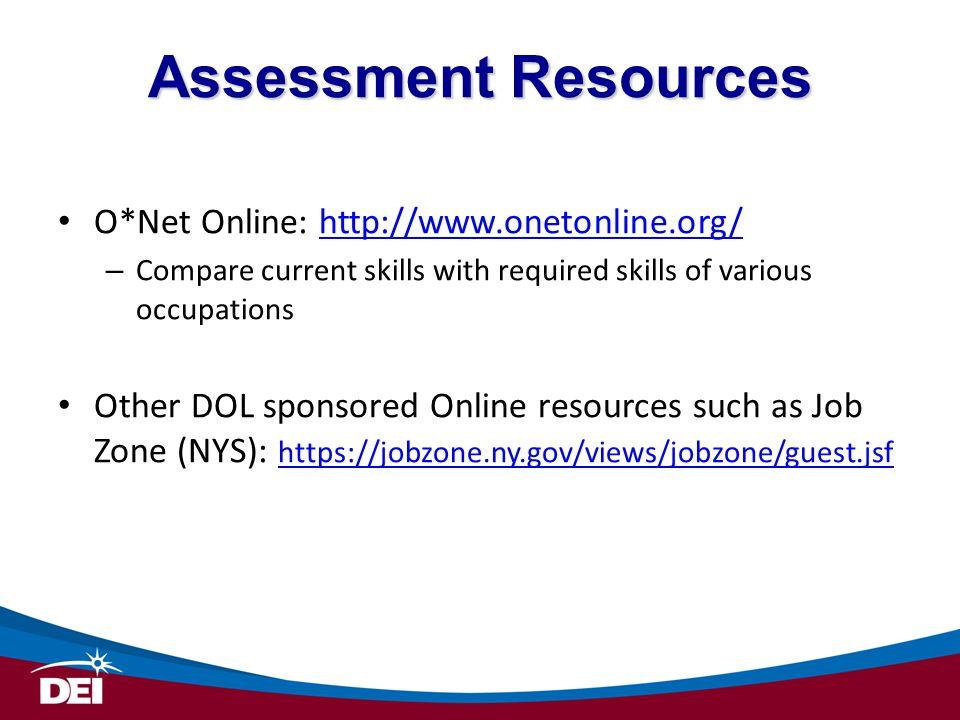 Assessment Resources O*Net Online: http://www.onetonline.org/