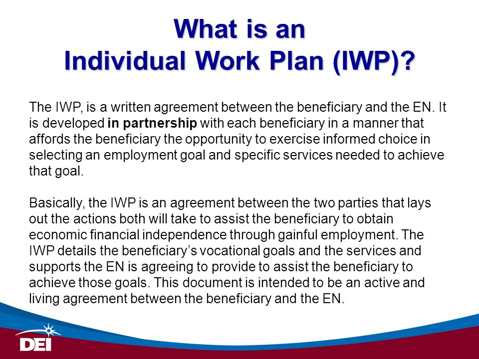 What is an Individual Work Plan (IWP)