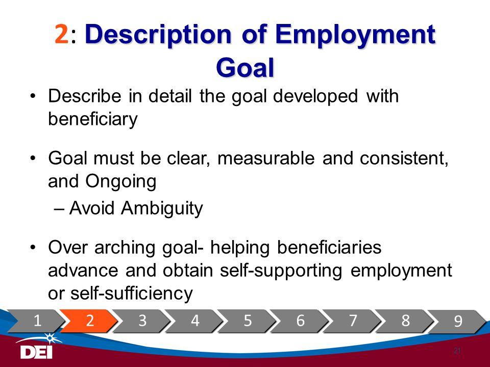 2: Description of Employment Goal