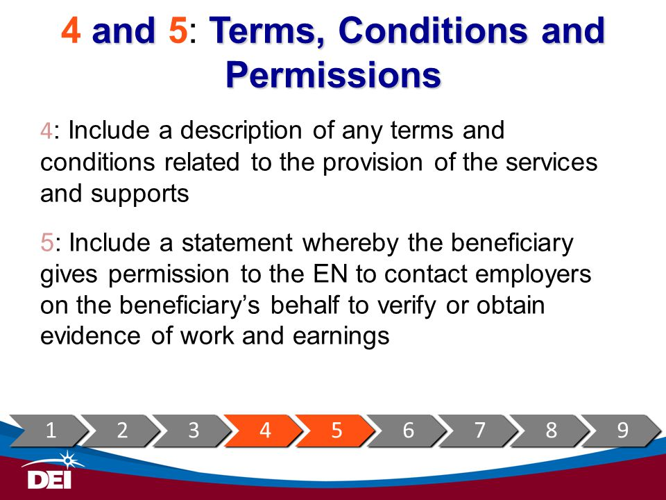 4 and 5: Terms, Conditions and Permissions